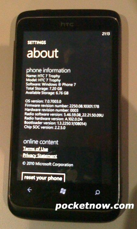 Διαρροή για τα χαρακτηριστικά του HTC 7 Trophy: θα υπάρχει HTC Sense…