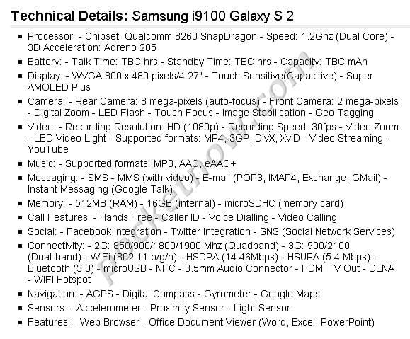 Samsung i9100 Galaxy S2: τα χαρακτηριστικά…