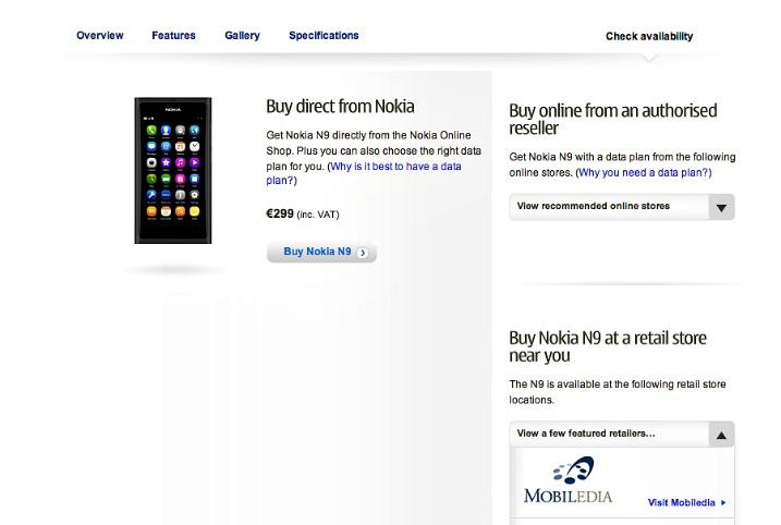 Nokia N9 στην αγορά;