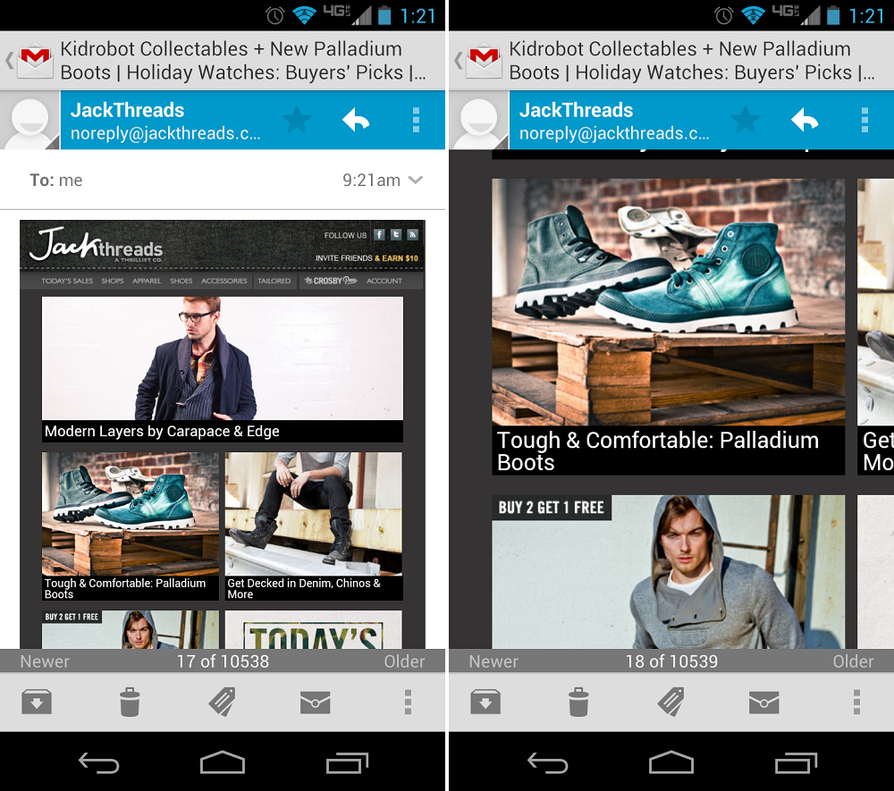 Gmail For Android – με Swiping & Resizing…