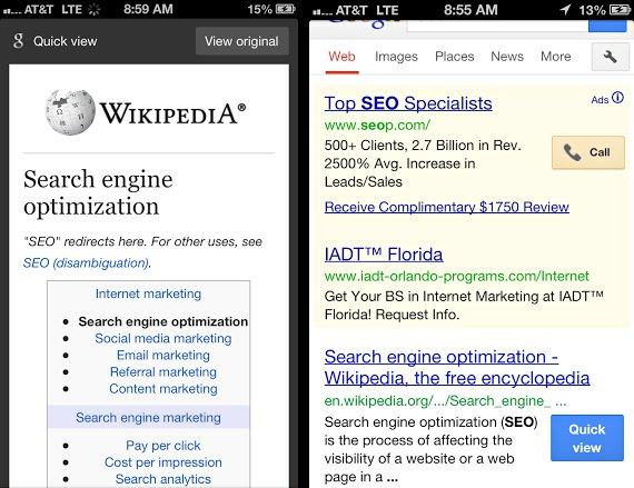 "Google – δοκιμάζει το ""Quick View"" στα Mobile Search…"