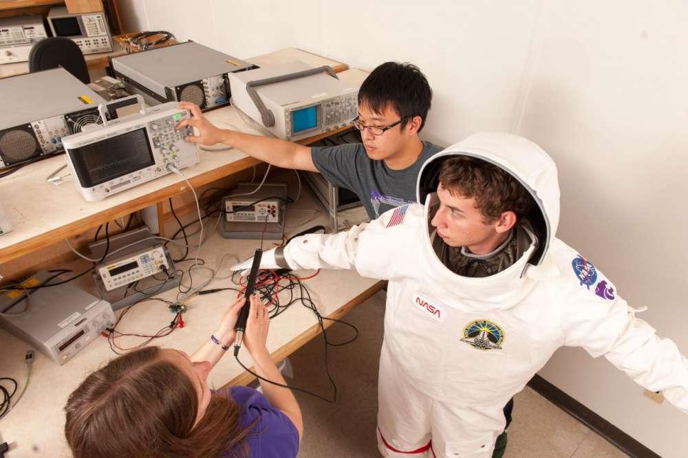 Garrett Petersong, German Sanchez, Amelia Hodges performing research for NASA