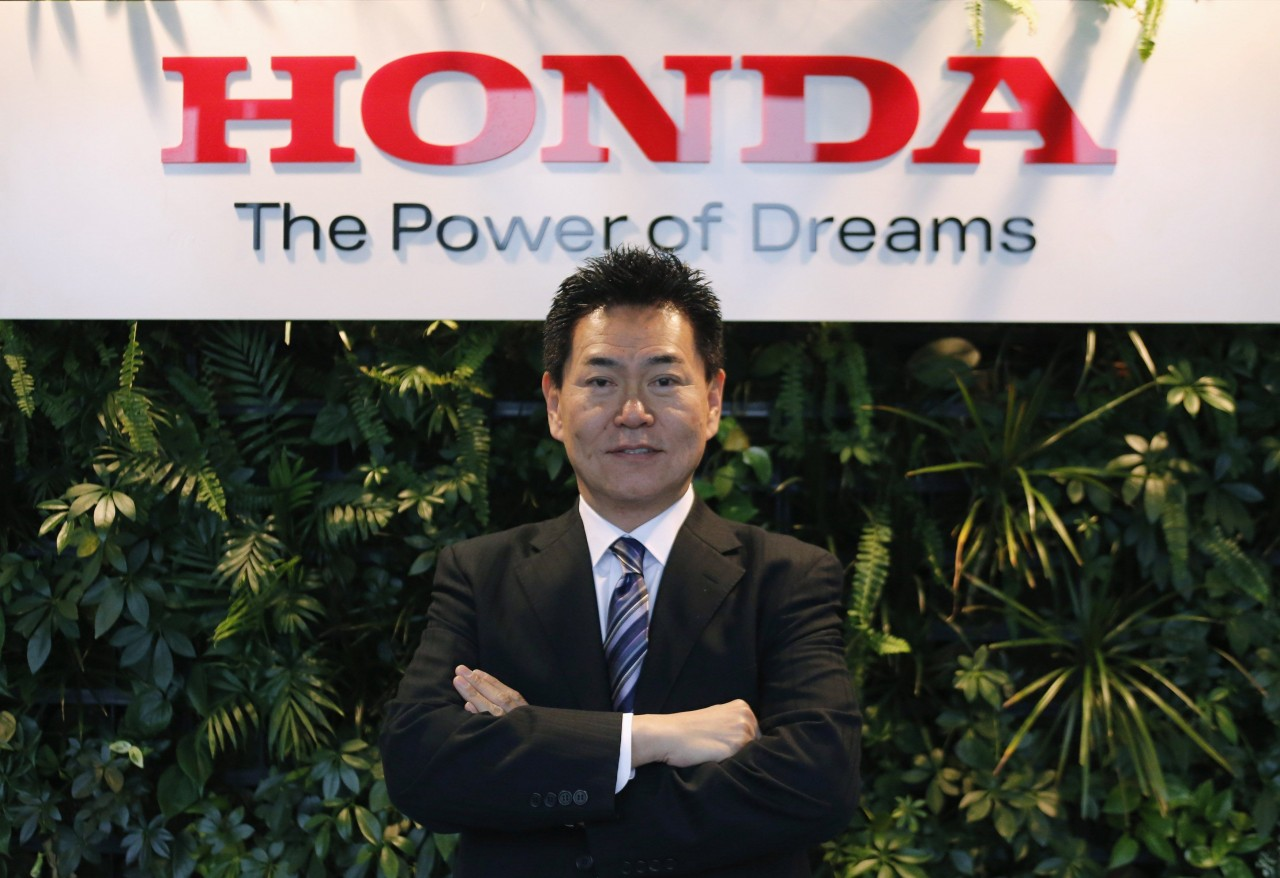 Yasuhisa Arai, Senior Managing Officer and Director, Chief Officer of Motorsports, Honda R&D Co. poses at the Honda Motor Co's headquarters in Tokyo