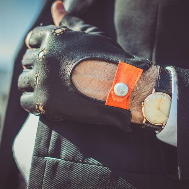 Black/Orange Fingerless Authentic Race Gloves