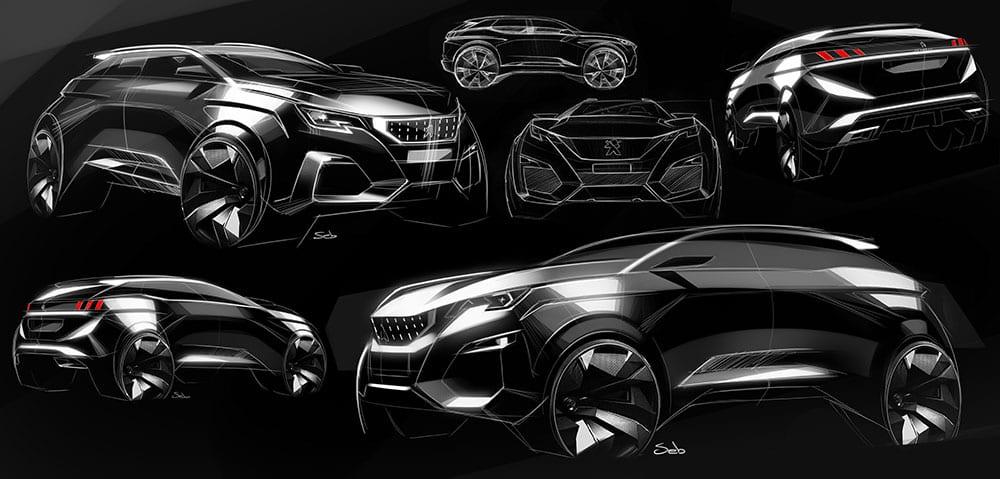 Peugeot 3008 + 5008 Design Sketches