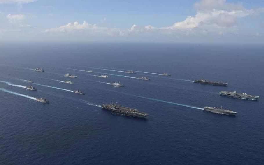 USS Ronald Reagan, USS Carl Vinson, HMS Queen Elizabeth – Τρία αεροπλανοφόρα σε μια εμφάνιση